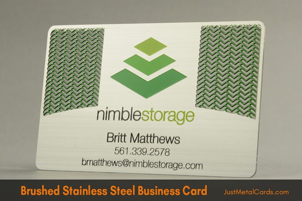 Brushed Stainless Steel Business Card j1