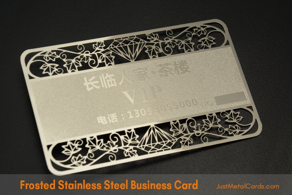 Frosted Stainless Steel Business Card j1