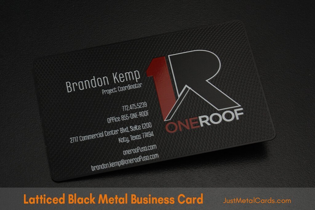 Latticed Black metal business cards j2