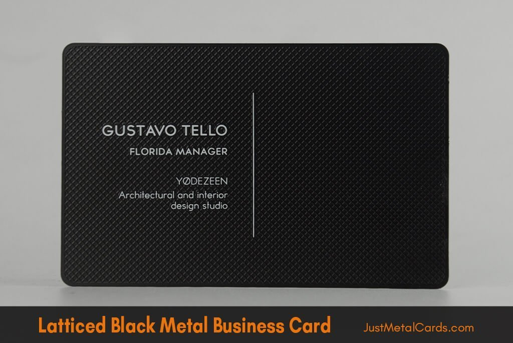 latticed black business card j2