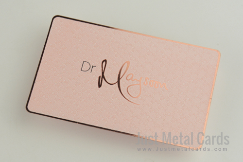 designer Pink color metal business card