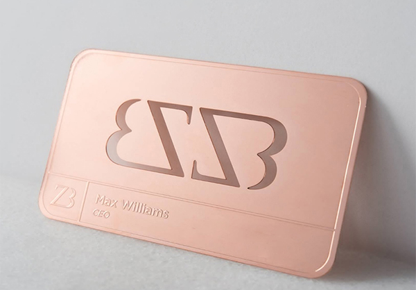 die cut rose gold business card