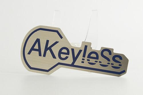 key shape metal business card