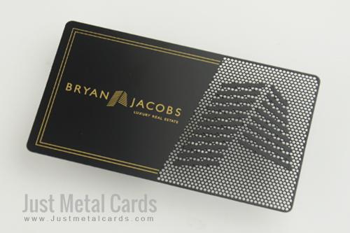 real estate black metal business card