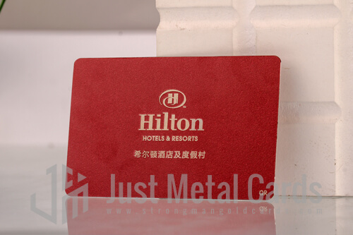 red color metal business card