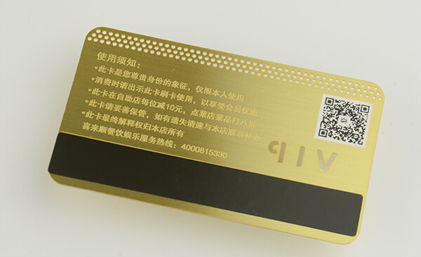 Copper metal membership card with Magnetic Stripe
